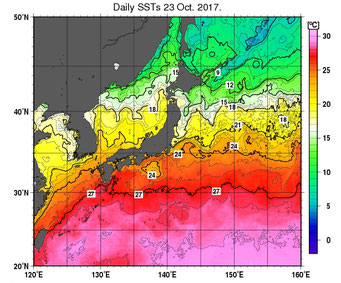 2017年10月23日の海水温(気象庁)
