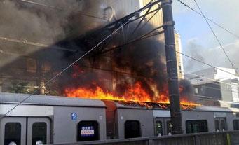 小田急の車両火災?