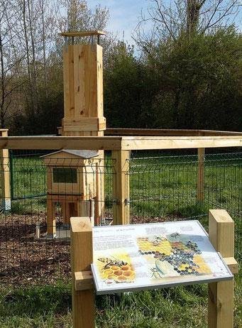 panneau pédagogique, panneau d'interprétation, sensibilisation, ruche, abeille, nature, illustrations