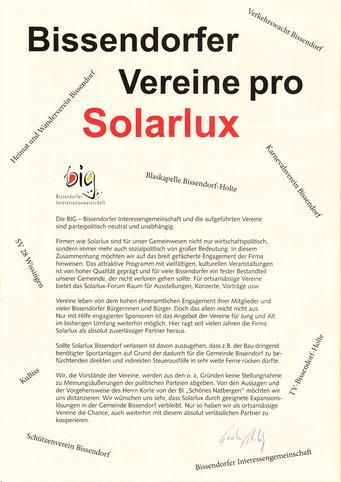"""interessant gestaltete ganzseitige Anzeige Bissendorfer Vereine für ihren Sponsor SOLARLUX im """"Bissendorfer Blickpunkt"""" vom März 2013"""