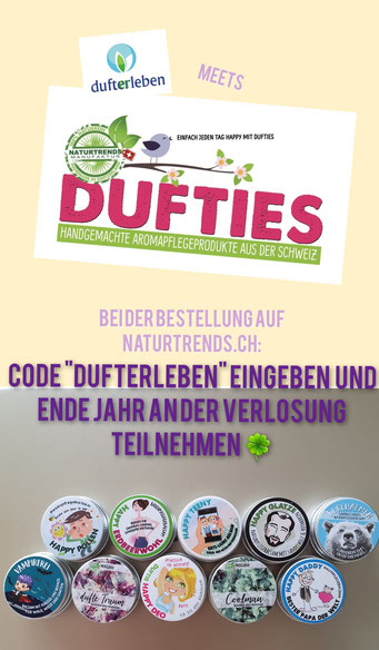 "naturtrends.ch ""code dufterleben"" Dufties"