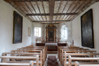 Innenraum der Kapelle St. Jakob, Brigels