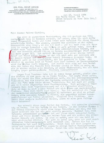 Brief von Rene König an Roland Girtler vom April 1984