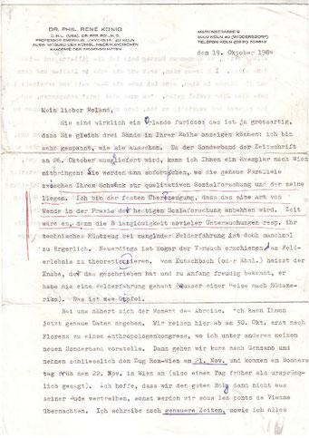 Brief von Rene König an Roland Girtler vom Oktober 1984