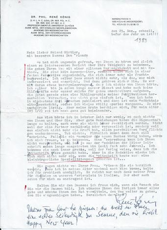 Brief von Rene König an Roland Girtler vom Dezember 1989