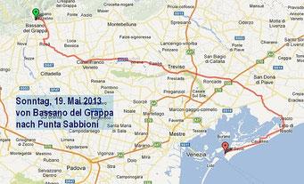 Route nach Punta Sabbioni
