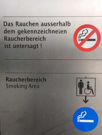 Kennzeichnung eines Raucherbereichs