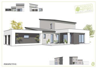 maison à étage avec toits monopentes et enduits blanc et gris