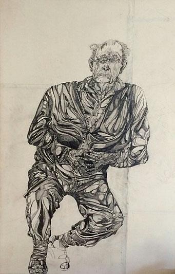 """Matthias Laurenz Gräff, Zeichnung """"Bildnis Rudolf Gräff"""", Graphit- und Bleistifte auf Papier, 135 x 100 cm, 2003"""