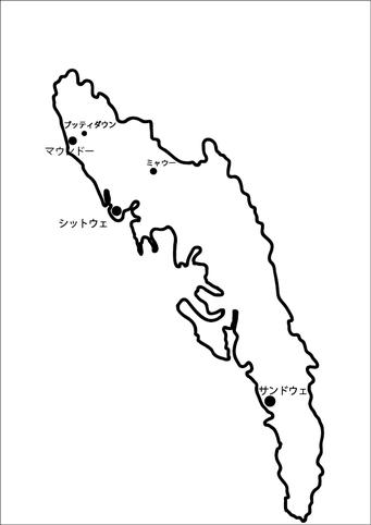 ラカイン州の地図(記者製作)