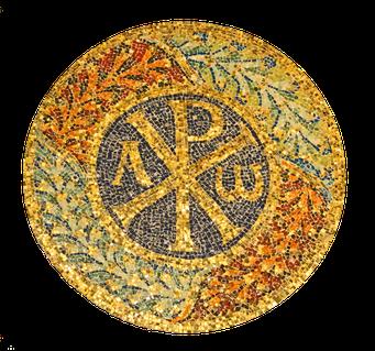 Mosaik mit der Darstellung des Chi-Rho aus dem Grabmal der Kaiserin Galla Placidia, Ravenna, 6. Jahrhundert