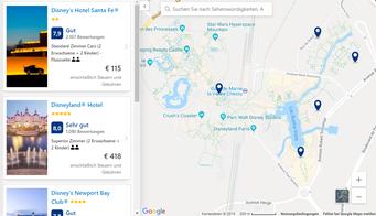 Disneyland Paris Hotels auf der Karte