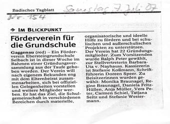 Zeitungsartikel des BT zur Gründung des Fördervereins