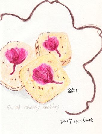 桜の塩漬けクッキー salted cherry cookies (2017.4.26WED)