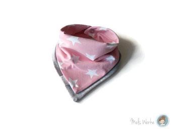 Lagenlook Halstuch Sterne rosa, hellgrau meliert