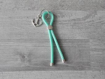 Schlüsselanhänger Segelseil 5mm mint mit Anker