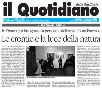Il Quotidiano della Basilicata, 17 novembre 2012
