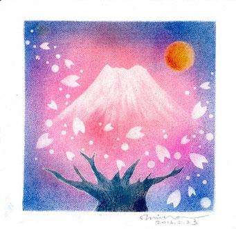 パステル和アート、夜桜 ヒーリングハーツ熊本