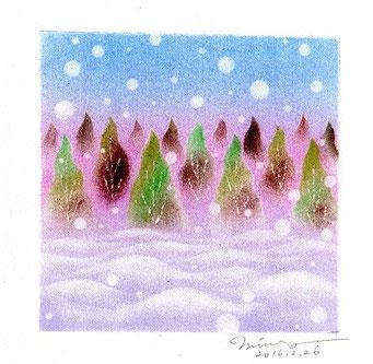 パステル和アート、冬木立