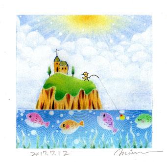 パステル和アート 魚釣り島 島守の祈り ヒーリングハーツ熊本