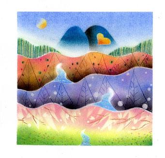 水の心旅~山河~ パステル和アート ヒーリングハーツ熊本 スカイプ ズーム ZOOM