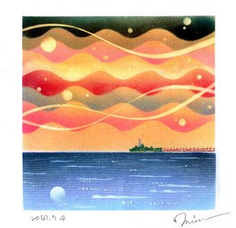 水の心旅~海の声~ パステル和アート ヒーリングハーツ熊本 スカイプ ZOOM