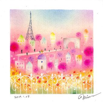 パリの街並み パステル和アート ヒーリングハーツ熊本