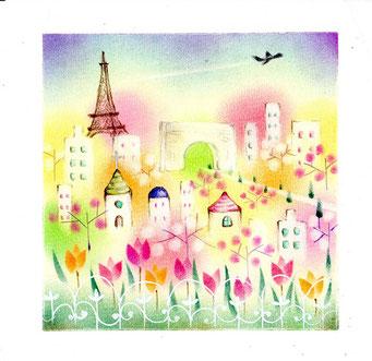 パリの街並み パステル和アート ヒーリングハーツ熊本 スカイプ ズーム ZOOM