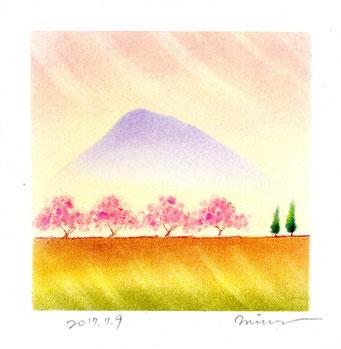 春 土手の桜 パステル和アート ヒーリングハーツ熊本