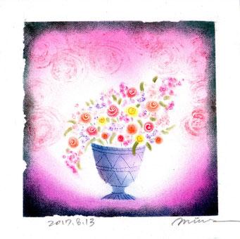 花瓶の花 パステル和アート ヒーリングハーツ熊本