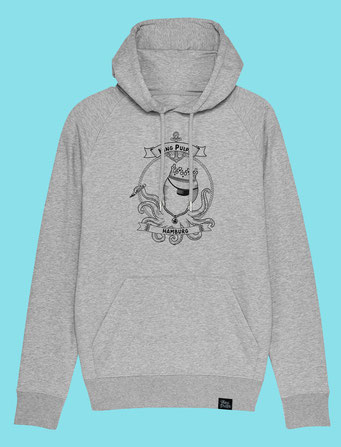 King Pulpo of Hamburg - Men's  hooded Sweatshirt - Grey