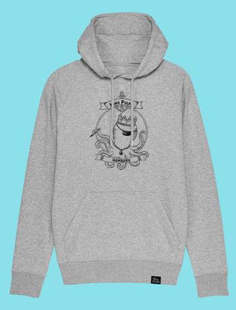King Pulpo of Hamburg - Men's  hooded Sweatshirt - Grey
