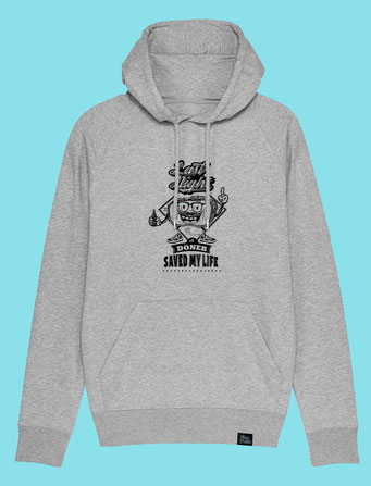 Döner Saved My Life- Men's Hooded Sweatshirt - Grey