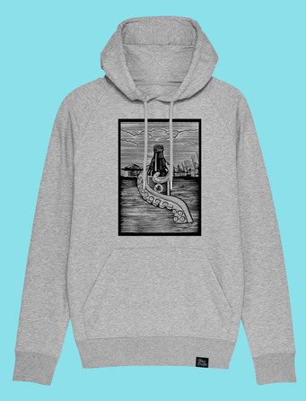 Pulpo Harbour - Men's/Unisex hooded Sweatshirt - Grey