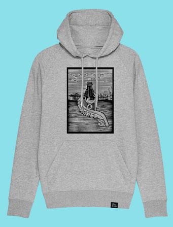 Pulpo Harbour - Men's/Unisex hooded Sweatshirt - Grey