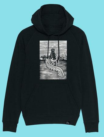 Pulpo Harbour - Men's/Unisex hooded Sweatshirt - Black