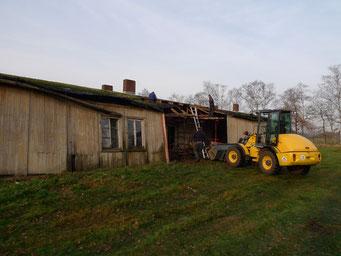 Entfernen der abgängigen Bauteile und Demontage der Wandtafeln. Foto: Andreas Ehresmann, 1.12.2008