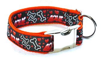 Hundehalsband Hund Halsband Gurtband Borte Webband Alu Steckschließe Handarbeit Pinterest Dawanda Handarbeit DIY Love Bone