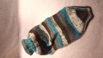 Hundepullover Türkis Grau Handarbeit warm weich kuschelig Wolle Wollgemisch DIY Winter Herbst Kalt