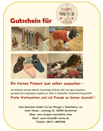Gutschein für meine Handarbeiten Weihnachten Geschenk Idee Pullover Mantel Hunde Halsband Leine DIY schön frohe ausgefallen