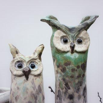 Eulen aus Keramik