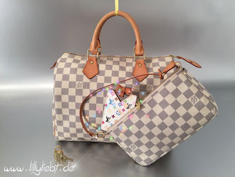 Louis Vuitton Damier Azur Speedy 30 & Pochette Accessoires, Louis Vuitton Monogram Multicolore Taschenspiegel in Weiß