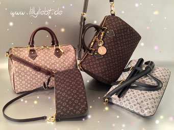 Louis Vuitton Monogram Idylle Speedy Bandouliere 30 in Sepia, Speedy Bandouliere 30 in Fusain & Pochette Accessoires in Fusain, Louis Vuitton Monogram Mini Lin Francoise in Blau, Louis Vuitton Circle LV Taschenschmuck