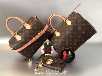 Louis Vuitton Monogram Canvas Speedy Bandouliere 25 & Speedy 30, Louis Vuitton Monogram Canvas Totem Luggage Tag, Louis Vuitton Monogram Vernis Animania Coin Purse Ecureil in Amarante, Louis Vuitton Monogram Canvas Elysee in Celeste, LV Circle Taschenschm