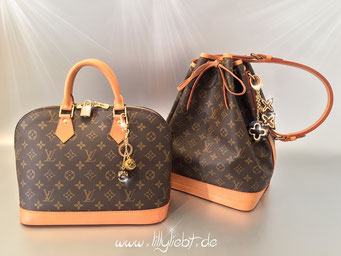 Louis Vuitton Monogram Canvas Alma & Noe, Louis Vuitton Jack & Lucy Taschenschmuck in Marron, Louis Vuitton Insolence Taschenschmuck in Schildpatt