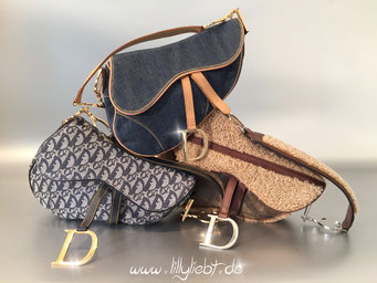 Christian Dior Diorissimo Saddle Bag, Shearling Flight Saddle Bag, Jeans Saddle Bag in Blau