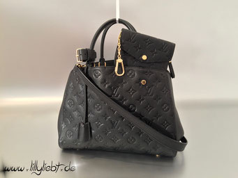 Louis Vuitton Monogram Empreinte Montaigne MM & Schlüsseletui in Noir