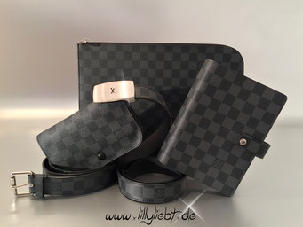 Louis Vuitton Damier Graphite Pouch Belt, LV Cut Gürtel, Agenda MM & Pochette Jour PM