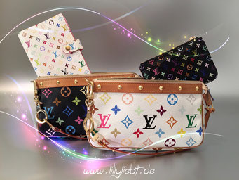 Louis Vuitton Monogram Multicolore Pochette Accessoires in Schwarz & Weiß, Louis Vuitton Monogram Multicolore Agenda PM in Weiß, Louis Vuitton Monogram Multicolore Schlüsseletui in Schwarz, Louis Vuitton Bolt Anhänger