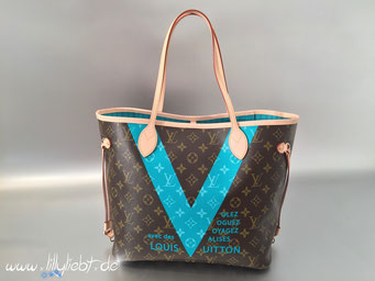 Louis Vuitton Monogram V Neverfull MM in Türkis